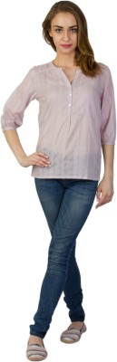 Today Fashion Casual 3/4 Sleeve Solid Women's Pink Top