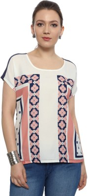 Van Heusen Casual Short Sleeve Printed Women's Blue Top