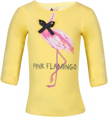 Miss Alibi Casual 3/4 Sleeve Printed Girl's Yellow Top