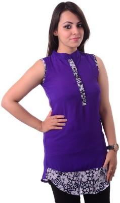 Shivi's Designer Studio Casual Sleeveless Printed Women's Purple Top