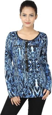 Adhaans Casual Full Sleeve Printed Women's Blue, Black Top