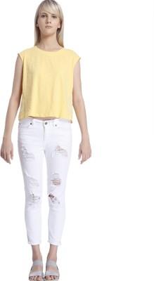 Vero Moda Casual Sleeveless Solid Women's Yellow Top