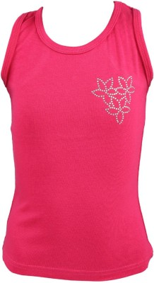 ITS Creation Party, Casual Sleeveless Solid Girl's Pink Top