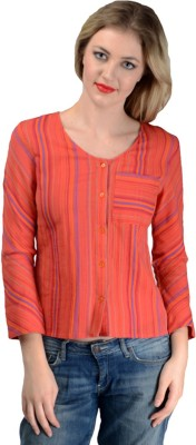 Oranje Casual 3/4 Sleeve Solid Women's Red Top