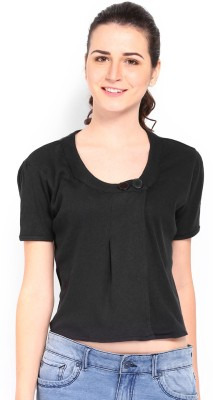 Kook N Keech Casual Short Sleeve Solid Women's Black Top at flipkart