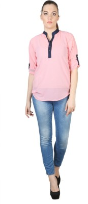 Kg&S Casual 3/4 Sleeve Solid Women's Pink Top