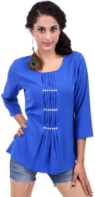 Palette Casual 3/4 Sleeve Embroidered Women's Blue Top
