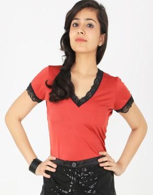 Schwof Party Short Sleeve Solid Women's Red, Black Top