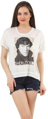 Sherlock Holmes Casual Short Sleeve Printed Women's White Top