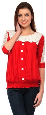 PINK SISLY Casual 3/4 Sleeve Solid Women's Red Top