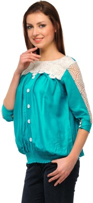 GUDS Casual 3/4 Sleeve Solid Women's Blue, Green Top