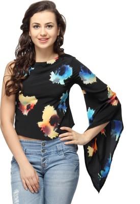 Vodka Fashion India Casual Kimono Sleeve Printed Women's Black Top
