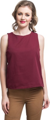Uptownie Lite Party Sleeveless Solid Women's Maroon Top
