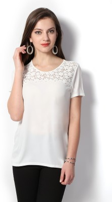 Van Heusen Casual Short Sleeve Self Design Women's White Top