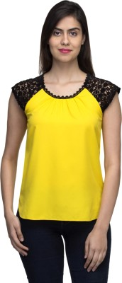 LY2 Casual Cap sleeve Solid Women,s Yellow Top