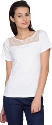 Golden Couture Casual Short Sleeve Solid Women's White Top