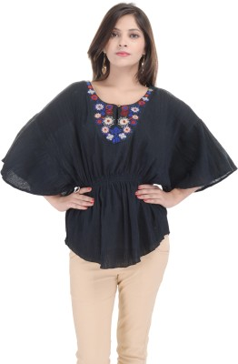 Goodwill Impex Casual Kimono Sleeve Solid Women's Black Top