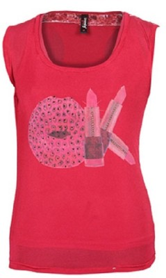 Jaune Casual Sleeveless Printed Women's Red Top
