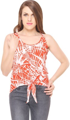 Lemon Chillo Casual Sleeveless Printed Women's Orange Top