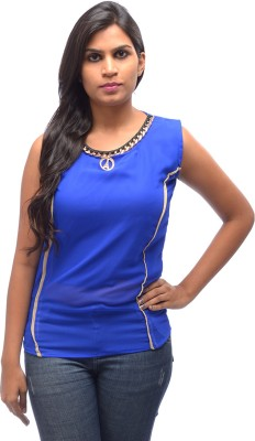 Shanu Collection Casual Sleeveless Solid Women's Blue Top