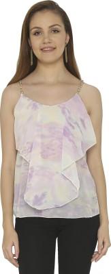 Tenn Casual Sleeveless Printed Women's Purple, White Top
