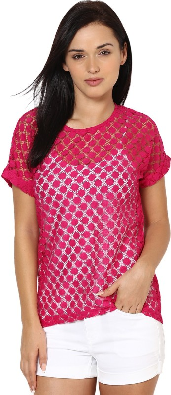 Color Cocktail Casual Short Sleeve Self Design Women's Pink Top