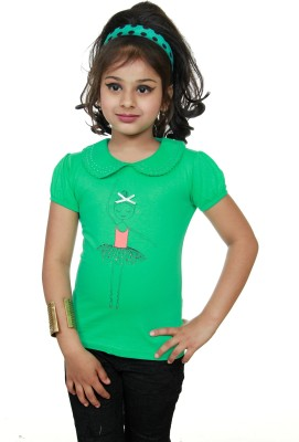 STRAWBERRY GIRL Casual Short Sleeve Printed Baby Girl,s Green Top