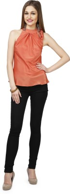 Glam & Luxe Casual Sleeveless Solid Women's Orange Top