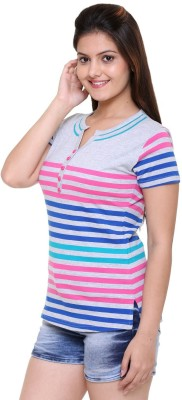 In LOVE Formal, Party, Casual, Sports Short Sleeve Striped Women's Grey Top