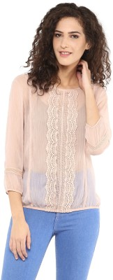 C2 Casual 3/4 Sleeve Solid Women's Beige Top