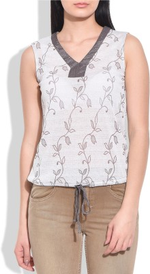 Addyvero Casual, Sports, Party Sleeveless Embellished Women's Beige Top