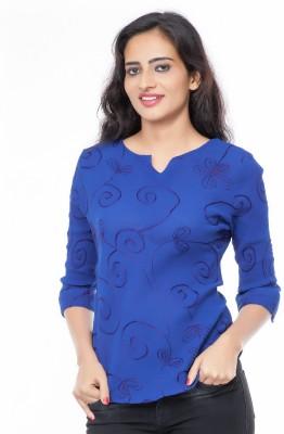 Eurodif Design Party, Festive, Beach Wear 3/4 Sleeve Embroidered Women's Blue Top