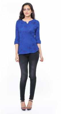 Eurodif Design Party, Beach Wear, Festive, Sports 3/4 Sleeve Embroidered, Solid, Self Design Women's Blue Top