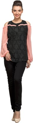 PrettyPataka Casual Full Sleeve Solid Women's Black, Pink Top