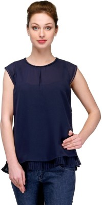 Pique Republic Casual Sleeveless Solid Women's Blue Top