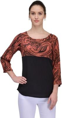 TheGudLook Casual 3/4 Sleeve Floral Print Women's Black Top