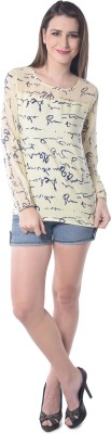 Florrie Fusion Casual Full Sleeve Printed Women's Yellow Top
