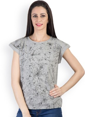 Tops and Tunics Casual Short Sleeve Printed Women's Grey Top