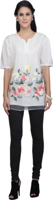 Viro Casual Short Sleeve Embroidered Women's White Top