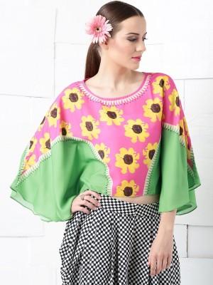 Masaba for Anouk Casual Kimono Sleeve Floral Print Women's Pink Top