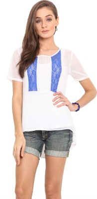 Instacrush Casual Short Sleeve Solid Women,s White Top