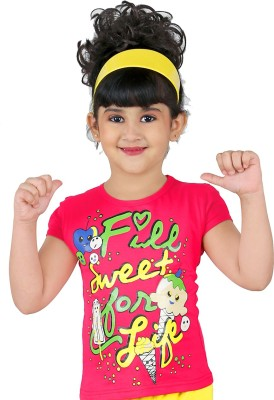 Yellow Dots Casual Cap sleeve Printed Girl's Red Top