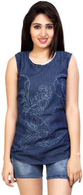 Carrel Casual Sleeveless Printed Women's Dark Blue Top
