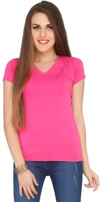 Pick Pocket Casual Short Sleeve Embroidered Women's Pink Top