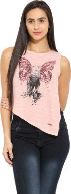 Why Knot Casual Sleeveless Printed Women's Pink Top