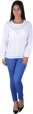 Fashionwardrobe Casual Full Sleeve Embroidered Women,s White Top