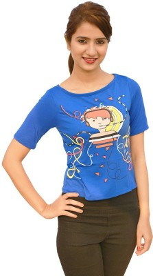 StyleFlies Party, Festive 3/4 Sleeve Printed Women's Blue Top