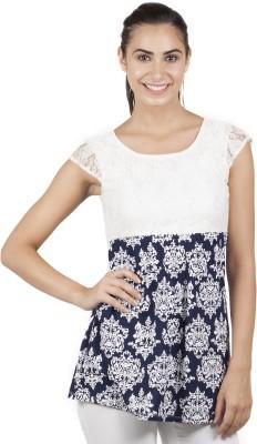 B Kind Casual Short Sleeve Printed Women's Light Blue Top