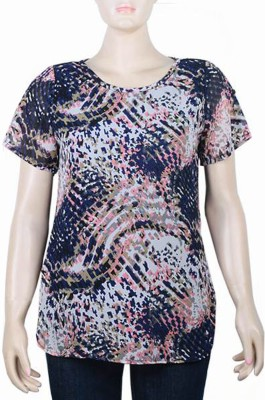 Mustard Casual Short Sleeve Printed Women's Multicolor Top