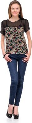 1OAK Casual Short Sleeve Printed Women's Black Top